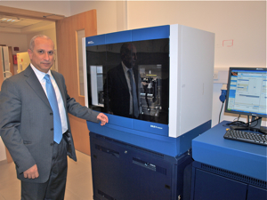 Prof. El-Shanti with the new gene sequencing machine for SMGC